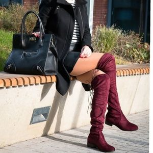 Shoes - Flat Boots Over knee Wine color 🚨PRICE IS FIRM🚨